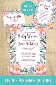 Peony baby shower invitations | pink flower baby shower | baby shower printables