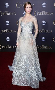 Lily James channels Cinderella in this stunning Elie Saab Couture gown
