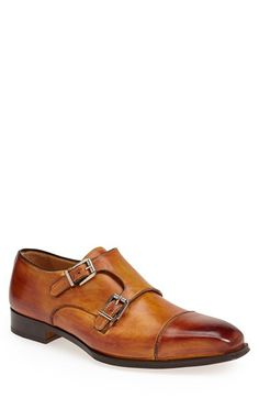 Gallo Bianco Double Monk Strap Shoe (Men), A burnished toe cap creates a sharp visual break on a bold monk shoe crafted from fine Italian leather. Formal Shoes, Casual Shoes, Sock Shoes, Shoe Boots, Leather Men, Leather Shoes, Derby, Double Monk Strap Shoes, Fashion Shoes