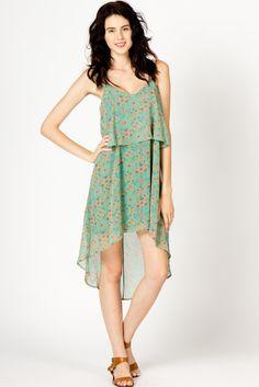Abstract Floral Chiffon Dress