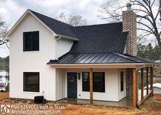 House Plan With Loft, Barn House Plans, Small House Plans, Cabin Plans With Loft, Low Cost House Plans, Retirement House Plans, Modern Farmhouse Exterior, Small Farmhouse Plans, Small Modern House Exterior