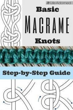 Interested in learning the basics of macramé? Here's an illustrated guide of the most common knots used in macramé. knots Basic Macramé Knots: Step by Step Guide · Life Adorned Macrame Wall Hanging Diy, Macrame Curtain, Art Macramé, Knots Guide, Micro Macramé, The Knot, Macrame Design, Macrame Projects, Diy Projects