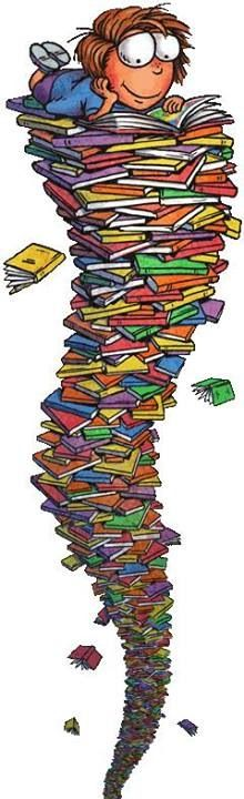 Reading on a tower of books I Love Books, Good Books, Books To Read, My Books, Illustrations, Illustration Art, World Of Books, I Love Reading, Reading Books