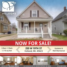 255 W 19th St, Holland, MI. 49423  ** Open House 4/15 1-3PM! **  Holland Real Estate. This charming traditional home offers 3 bedrooms and 1.5 baths and is conveniently located minutes from Kollen Park, Lake Macatawa, Holland Schools & Lake Michigan. A large front porch welcomes you into the main living room with beautiful wood floors running into the dining room. A huge kitchen hosts an eating area and has mudroom & backyard access. An updated half bath and a single bedroom complete the 756…