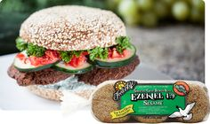 Ezekiel Sesame Sprouted Grain Burger Buns, These delicious buns can be used to make individual veggie pizzas, veggie burgers, or as dinner rolls among other ideas. They are available in most Natural & Specialty Stores nation wide. Veggie Pizza, Veggie Burgers, Vegan Fast Food, Food Suppliers, Hamburger Buns, Whole Grain Bread, Dinner Rolls, Healthy Alternatives, Salmon Burgers