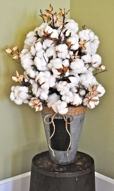 Large Cotton Centerpiece - Natural Cotton Bolls - Raw Cotton - Natural Cotton Branches - Wedding - Home Decor. $400.00, via Etsy.