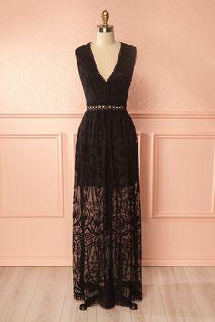 eaf747db7ad Black embroidered mesh maxi dress with open back - Robe maxi noire en filet  brodé avec