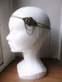 Bijoux de tête style retro inspiration Gatsby, Années Folles 1920's estampe losange florale bronze : Accessoires coiffure par les-bijoux-d-aki