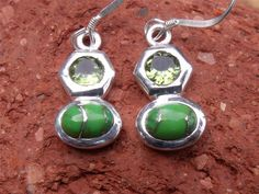 EARRINGS GREEN COPPER TURQUOISE/PERIDOT 925 SILVER HANDCRAFTED JEWELLERY