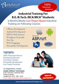 At Ambika Software Technologies our training cell is in the process of recruiting BCA / MCA / B.Tech-CSE,IT / M.Tech / Bsc-IT Fresher students from reputed colleges across India on the basis of No Profit basis with a very nominal fee structure under the proposal of Industrial Training Programm. We will be providing training to few deserving selected candidates. Contact Us-01724002378.