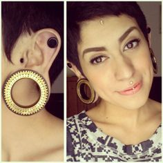 womanwithoutcountry: These plugs from Tarng McNabb make me a happy, happy girl. I honestly love everything I see! Unique Body Piercings, Cool Piercings, Tattoed Girls, Inked Girls, Jewelry Tattoo, Body Jewelry, Dermal Implants, Stretched Lobes, Alternative Hair