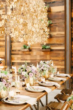 Hundreds of maple leaves painted #gold for this wedding inspiration on Style Me Pretty! See more here - http://www.StyleMePretty.com/2014/01/03/organic-glamour-inspiration-shoot-wiup/ Brklyn View Photography