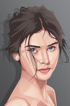 Beauty, Made Suardita Portrait Vector, Digital Portrait, Portrait Art, Portrait Illustration, Digital Illustration, Illustration Fashion, Art Illustrations, Fashion Illustrations, Skull Illustration