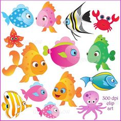 Items similar to SOMETHIN' FISHY - Clip art set in premium quality 300 dpi, Png and Jpeg files. For small business and personal use. on Etsy Fish Clipart, Mermaid Clipart, Scrapbook Images, Scrapbook Kit, Fish Wall Art, Fish Art, Bowl Image, Cartoon Sea Animals, Digital Backgrounds