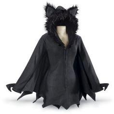 """""""Bat Babe! You're Queen of the cavern! Flutter forth in this fabulous fleece jacket, with its spreadable, bat-wing sleeves and adorable, furry-earred hood. Three-quarter front zipper. 100% polyester. Hand washable. Imported. Color: Black. Sizes: S (4–6), M (8–10), L (12–14), XL (16); 35""""–37"""" long."""""""