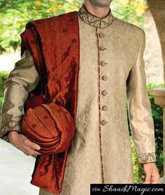 Junaid-Jamshed royal style  Again the multi-talented designer has a creation of off-white and brown color synthetic Sherwani. A perfect wearable designed and created for the Baraat to intimate wedding outfit for the groom.