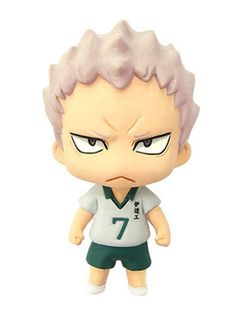 """Color Colle Haikyuu!! Vol.3 Mascot Figure: Takanobu Aone. The ATBC-PVC Figurine Measures Approximately 1.5"""" (4cm) in Height. It Has a Lobster Clasp at the Top for Easy Attachment. Manufactured by Movi"""