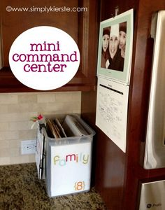 mini kitchen command center -- love larger command centers but I just don't have such a large space anywhere in my house.  I do have room for a small file holder!  Great idea!