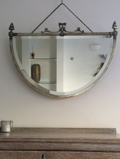Antique Silver & Brass Toned Metal Framed Mirror Quality Bevelled Glass With Large Adorning Crest Extra Large Wall Mirrors, Mirrors For Sale, Edwardian Era, Victorian, Antique Silver, Antiques, Metal, Wood, Frame