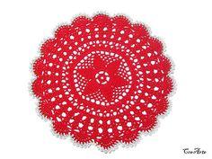 Red Christmas doily Crochet Christmas doily Centrino rosso