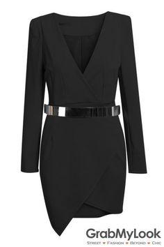 GrabMyLook Black Bodycon V Neck Asymmetric Belt Dress Suit
