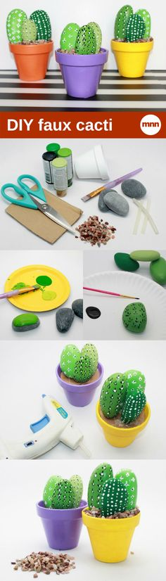 Don't have a green thumb? These faux cacti rocks will solve that problem.