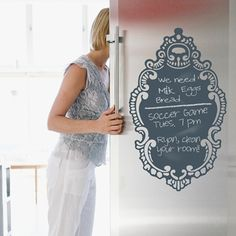 Love this chalkboard decal!  Perfect if your refrigerator isn't magnetic, or use it on the wall in your kitchen or mudroom.     So pretty and functional, too!  #chalkboard #harvardhomemaker