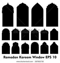 Vector Islamic door and window shapes / Arabic door and window vector silhouette     - stock vector