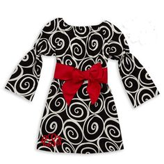 Black Swirl Red Corduroy Sash Dress
