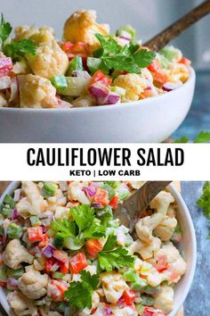 *NEW*Super creamy, tangy and addicting keto cauliflower salad recipe is the healthy low carb side dish your BBQs need! Make it with bacon, or keep it simple and as is, either way you'll love it! Cauliflower Salad, Cauliflower Recipes, Low Carb Appetizers, Appetizer Recipes, Appetizer Ideas, Healthy Salad Recipes, Diet Recipes, Healthy Food, Flour Recipes