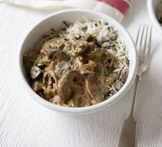 Mushroom stroganoff. I throw in a bit of frying steak for the boy to pimp it up. From BBC Good Food