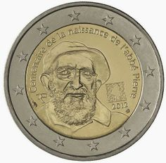 euro: Anniversary of Abbé Pierre's birth.Country: France Mintage year: 2012 Face value: 2 euro Diameter: mm Weight: g Alloy: Bimetal: CuNi, nordic gold Quality: Proof, BU, UNC Mintage: pc UNC pc BU pc proof Euro Währung, Euro France, Piece Euro, Numismatic Coins, French Coins, Euro Coins, Foreign Coins, Valuable Coins, Forex Trading Signals