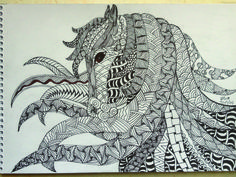 zentangle horses | Zentangle freehand drawing with pen and pencil...