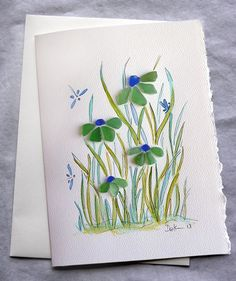 Sea Glass Flower card by RachelDrakeStudio on Etsy. Would like to make ...