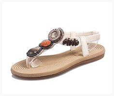 0150cb7eff7ba9 Stifai Womens Retro Thong Sandals Lightweight Ladies Flip Flops White D (M)  US