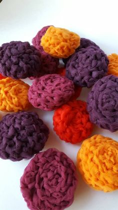 These dish srubbies are hand crocheted by myself from hand cut tulle yarn. They are soft enough for light cleaning yet pack durable scrubbing power for tough jobs. Easy to wash by hand or in the dishwasher. Item details: -About 3-4 in diameter -Mixed color combos in sets unless