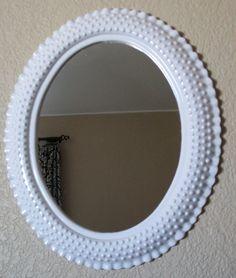 White Hobnail Milk Glass Style Vintage Frame Mirror