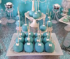 Tiffany & Co. baby shower party candy apples! See more party planning ideas at CatchMyParty.com!