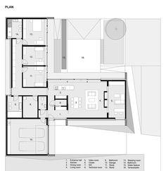 Gallery - House with ZERO Stairs / Przemek Kaczkowski + Ola Targonska - 14 - House Plans, Home Plan Designs, Floor Plans and Blueprints Home Design Floor Plans, Plan Design, House Floor Plans, The Plan, How To Plan, Modern House Plans, Small House Plans, Single Level Floor Plans, Small Modern Bedroom