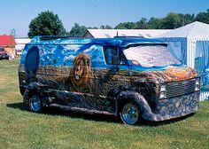 Lion's Den, airbrushed custom van