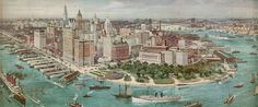 """New York Chapter » American Printing History Association""""Birdseye View of Lower Manhattan. """" An engraved copper plate made by W.T. Littig & Co, from a panoramic watercolor by Richard Rummell (1848–1924), circa 1914. Public domain."""""""
