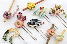 つまみ細工/Kanzashi● silk art HIMEKO facebookpage https://ja-jp.facebook.com/himekosilkart ● http://www.a-yarn.com/
