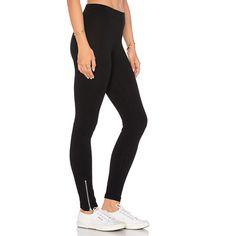 LNA Mid Rise Zipper Legging ($99) ❤ liked on Polyvore featuring pants, leggings, legging pants, mid rise pants, lna, cotton leggings and zip pants