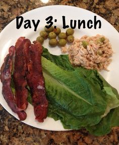Tuna with a little olive oil and chopped up pickle and onion mixed in.  Side of turkey bacon, lettuce and olives!! Eating to lose on the 21 Day Fix. You can too! Like my page to find out how!! https://www.facebook.com/Beachlifeforever99