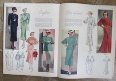 Pictorial Review Fashions Pattern Book, Summer 1936 featuring 8288 and 8294 on the left page, 8285 and 8304 on the right page
