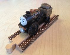 Washi tape on Brio wooden train tracks by woodpeckers. Woodpeckers, Wooden Train, Brio, Train Tracks, Washi Tape, Green Woodpecker, Railroad Tracks