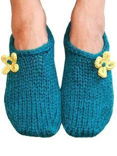 Two Hour Toe Up Slippers Knitting Pattern Download from http://e-PatternsCentral.com -- These slippers really do knit up in just 2 hours! They are perfect for wearing around the house to keep toes warm.