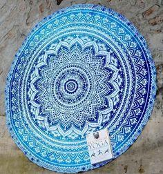 Hippie Indian Peacock Mandala Round Roundie Towel Throw Tapestry Beach Yoga Mat