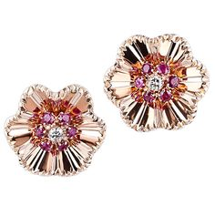 Diamond and Ruby Retro Clip Earrings