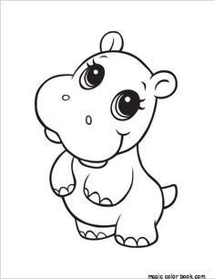 Hippo animal coloring pages printable online